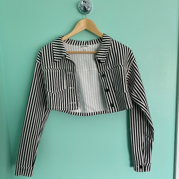 Black and white denim jacket